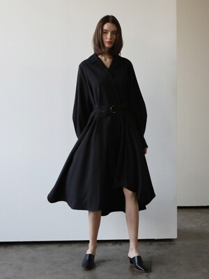 Wool asymmetric dress_Black