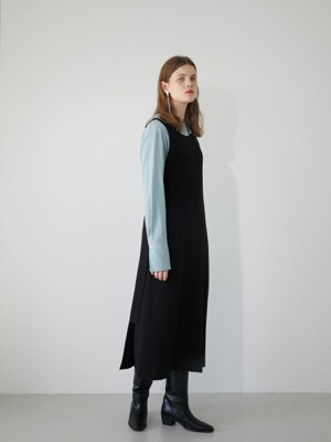19' WINTER_BLACK SIDE SLIT LAYERED DRESS