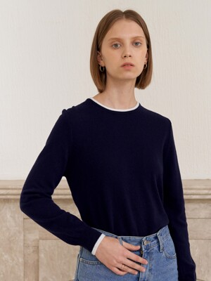 CASHMERE COLOR KNIT_NAVY