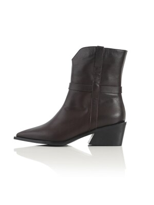 Wooden Chunky Western Boots - Dark Brown