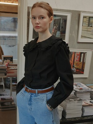 Joie Ruffle-trimmed Blouse_Black