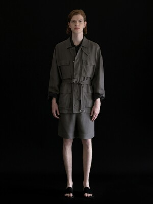 BLENDED LINEN BELTED FILD JACKET_CHARCOAL