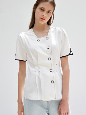 comos'353 linen stitch blouse (white)