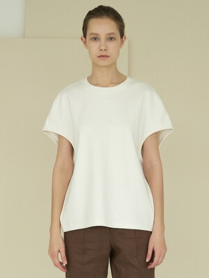 oversize unique cotton top (white)