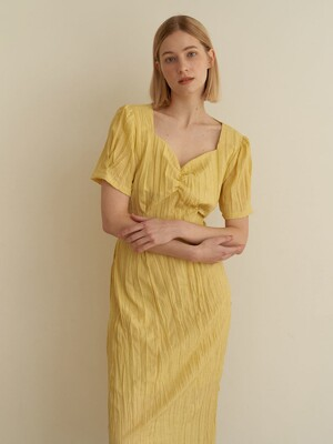 Halfmoon shirring dress-Yellow
