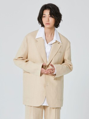 ORSHA Linen Single Jacket_Beige (Set-up)