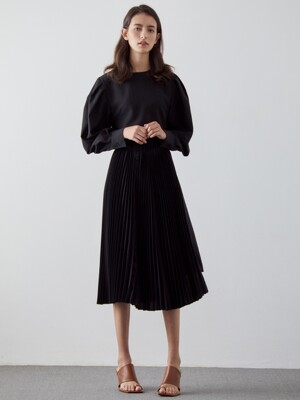 BELT DETACHABLE PLEATS DRESS_BLACK