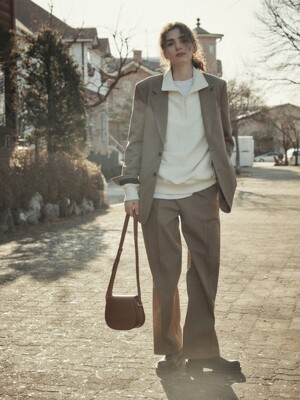 STRUCTURED WOOL GABERDINE TROUSERS (KHAKI)