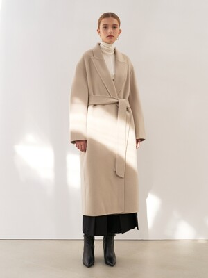 CASHMERE PEAKED COLLAR COAT [HAND MADE] 2COLOR