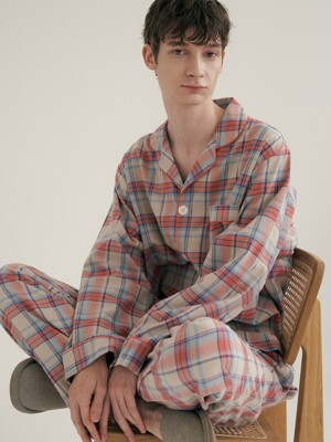 (m) Coral Plaid Pajama Set