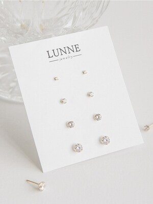14k gold simple CZ earrings (14k 골드)
