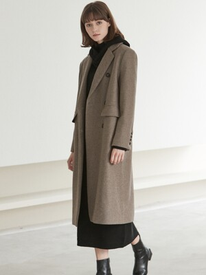 [By Joorti] J589 wool double long coat (brown)