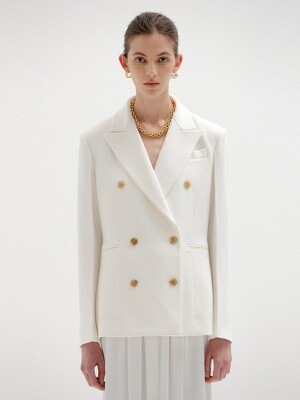 SELL Double-Breasted Blazer - White