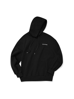 Stretch over-fit hoodie - BLACK