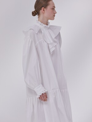 DEMERE FLOORED COLLAR DRESS (WHITE)