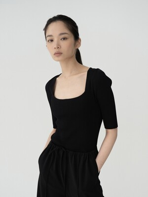 SQAURE-NECK SLIM KNIT (3 COLOR)
