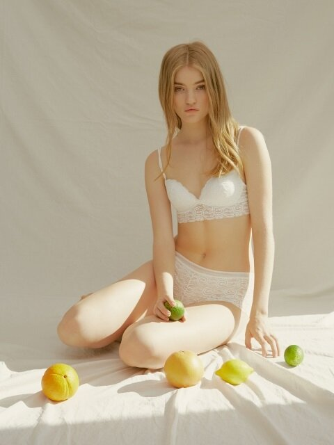 Sunset lace wireless bra _ Ivory