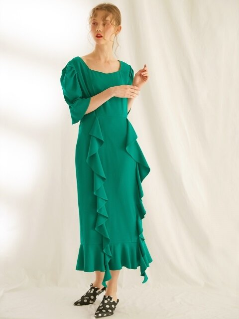 FRILL LONG DRESS_GREEN