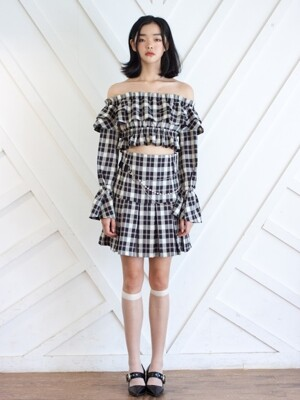 [NOT YOUR XXX] High-waist pleat skirt (Check)