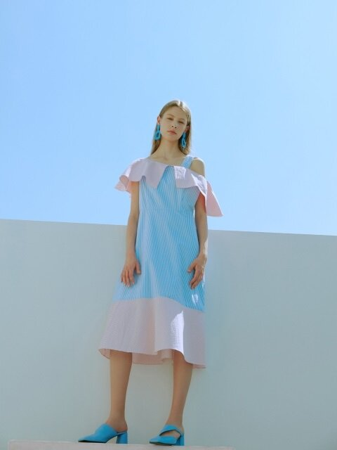 [EXCLUSIVE] UNBALANCE SHOULDER DRESS_2colors