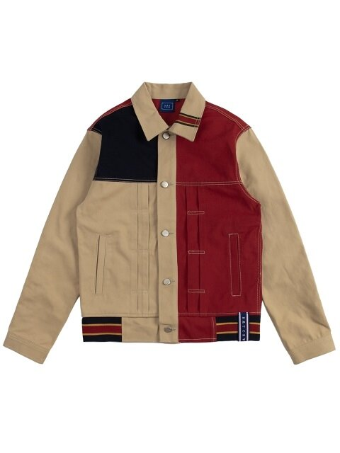Color Block Trucker Jacket_beige