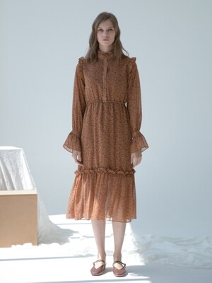 Chiffon Flower Long Dress Brown