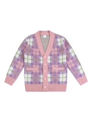 OVERSIZE CHECK CARDIGAN (PINK-IVORY)