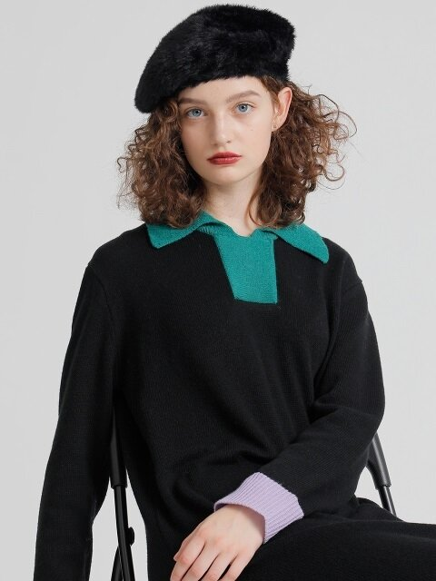 R CONTRAST COLLAR KNIT DR 2