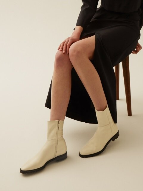 Cross Low Boots_1031 ivory