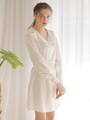 DOUBLE BUTTON FLARE ONE-PIECE_IVORY