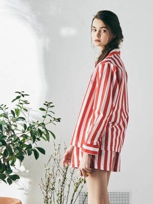 [W] Marilyn L/S PJ Set Lollipop Stripe Red