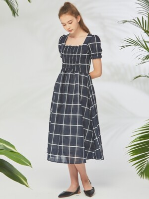 NAVY CHECK SQUARE NECK LONG OPS