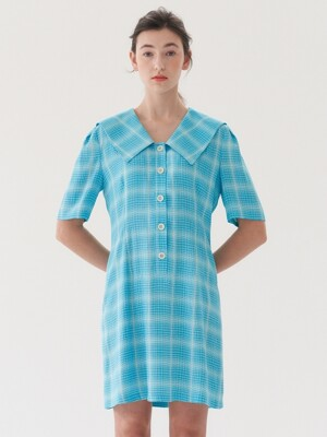 check mini dress-blue