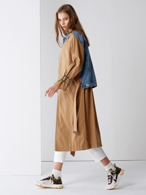 DENIM MIX TRENCH COAT BEIGE