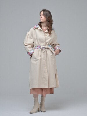 Flower Trench Coat_PEACH