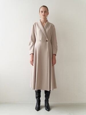 19FW SHAWL COLLAR DRESS BEIGE