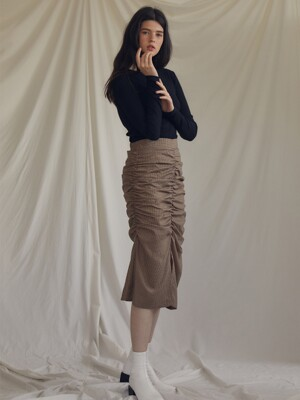 ES SHIRRING SKIRT(BROWN)