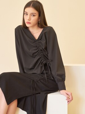 UNBAL STRING BLOUSE BLACK