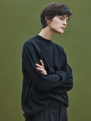WOOL HALF TURTLENECK_BLACK