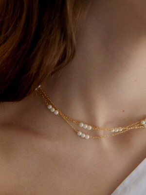 triple pearl and line necklace (choker)