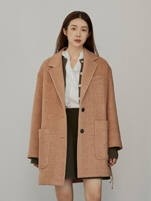 [EXCLUSIVE] ALPACA BELT COAT - Camel
