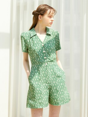 V-neck Shot Jumpsuit_ Green