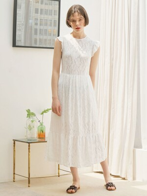 LACE SHIRRING ONE-PIECE_WHITE