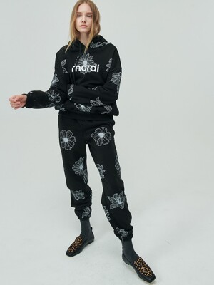 SWEAT PANTS ALL-FLOWER BLACK