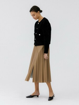 Fake leather Pleats Skirt_Brown
