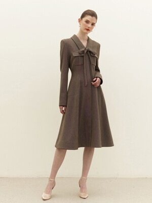CAROLINE Tie dress (Khaki)