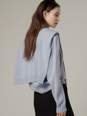 [EXCLUSIVE] Wool muffler layered pullover - Sky blue