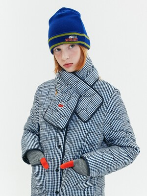 CHERRY GINGHAM CHECK QUILTING JACKET JA  [NAVY]
