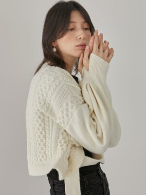 Maty Cable Cardigan_Ivory