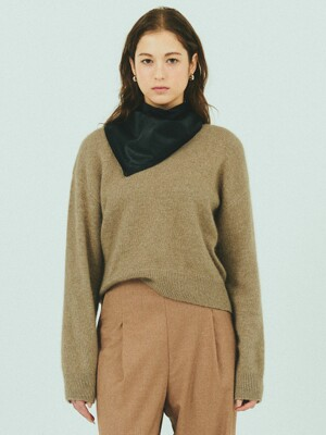 BENSIMON MERINO WOOL CROP KNIT - BROWN